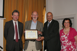 Andreas Bachofner receiving an Ambassador for Peace Award