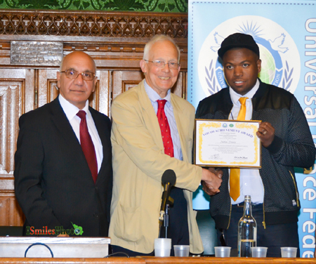 Nathan Dennis Receives a Youth Achievement Award from David Winnick MP