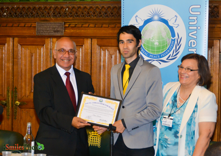 Oliver Davies Receives a Youth Ambassador for Peace Award