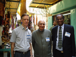 Mr OP Sharma MBE (middle) in the Old City of Jerusalem