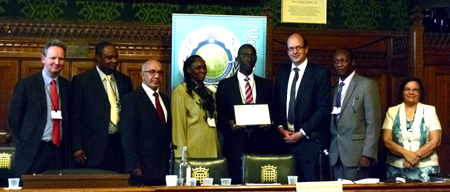 Samuel Aigbotsua Receives a Youth Achievement Award from Mark Reckless MP