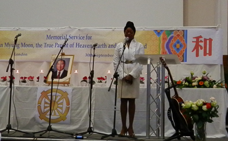 Pattie Boulaye Singing at Memorial Service