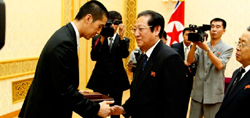 Rev Hyung Jin Moon greeted by Kim Jon Un's uncle, Jang Song Taek
