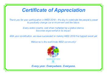 WED 2010 Certificate