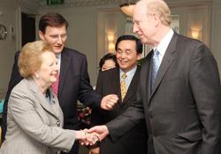 Lady Thatcher Meeting Dr Thomas Walsh UPF President