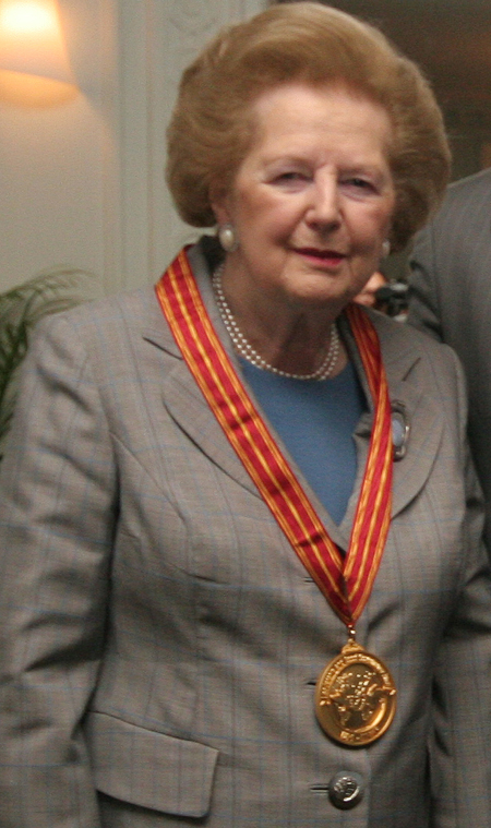 Lady Thatcher wearing Leadership and Good Governance Award Medalion