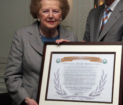 Lady Thatcher with Leadership and Good Governance Award