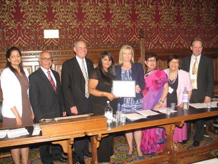Tejal Patel presented by Anne Main MP and Bob Blackman MP