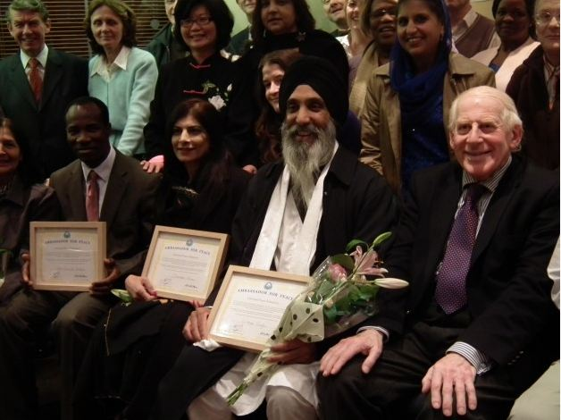 Three Ambassadors for Peace: Pastor Samuel Yerokun, Yasmeen Khan and Wege Singh with Rev. Brian Cooper